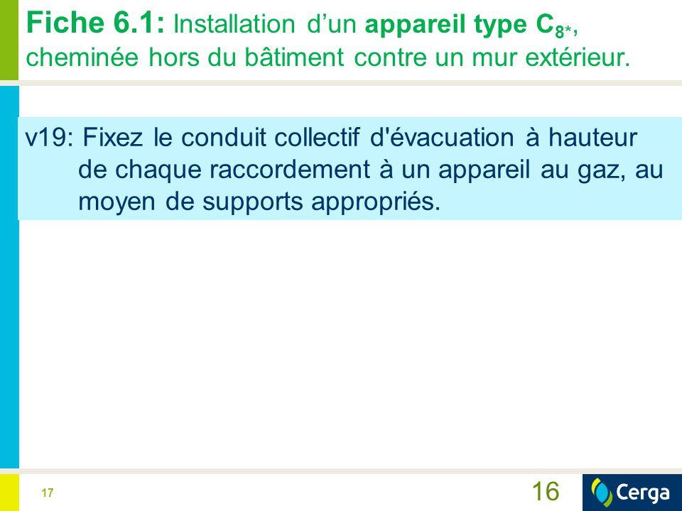 17 16 Fiche 6.1: Installation d'un appareil type C 8*, cheminée hors du bâtiment contre un mur extérieur. v19: Fixez le conduit collectif d'évacuation