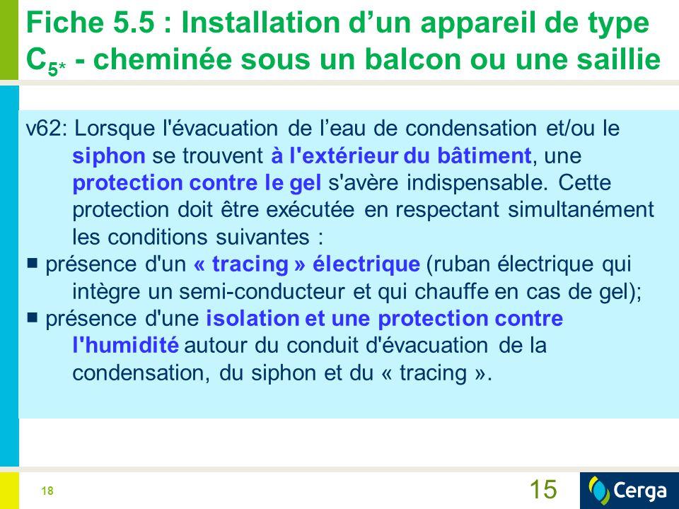 18 Fiche 5.5 : Installation d'un appareil de type C 5* - cheminée sous un balcon ou une saillie 15 v62: Lorsque l évacuation de l'eau de condensation et/ou le siphon se trouvent à l extérieur du bâtiment, une protection contre le gel s avère indispensable.
