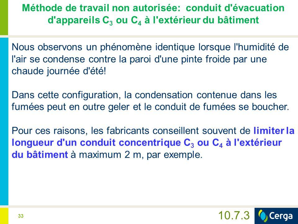 33 10.7.3 Méthode de travail non autorisée: conduit d'évacuation d'appareils C 3 ou C 4 à l'extérieur du bâtiment Nous observons un phénomène identiqu