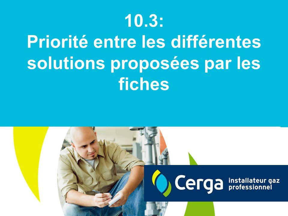 10.3: Priorité entre les différentes solutions proposées par les fiches