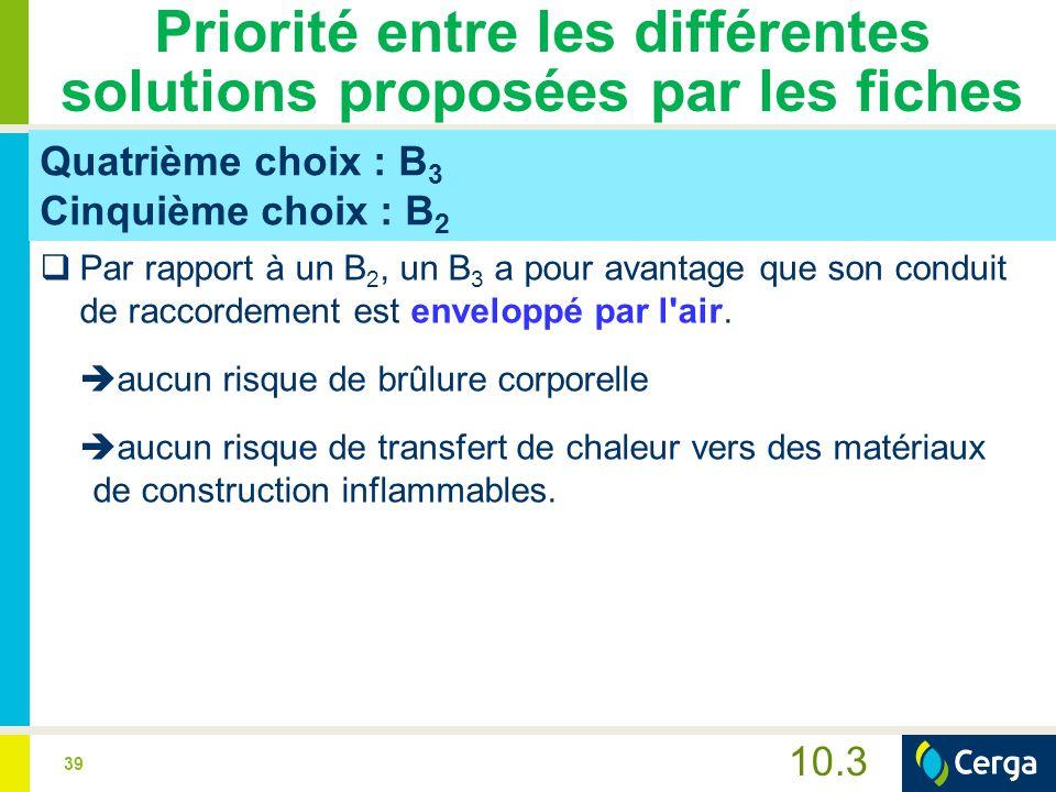 39 10.3 Priorité entre les différentes solutions proposées par les fiches Quatrième choix : B 3 Cinquième choix : B 2  Par rapport à un B 2, un B 3 a