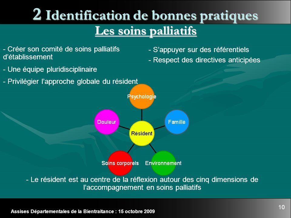 10 Assises Départementales de la Bientraitance : 15 octobre 2009 2 Identification de bonnes pratiques Les soins palliatifs - Le résident est au centre