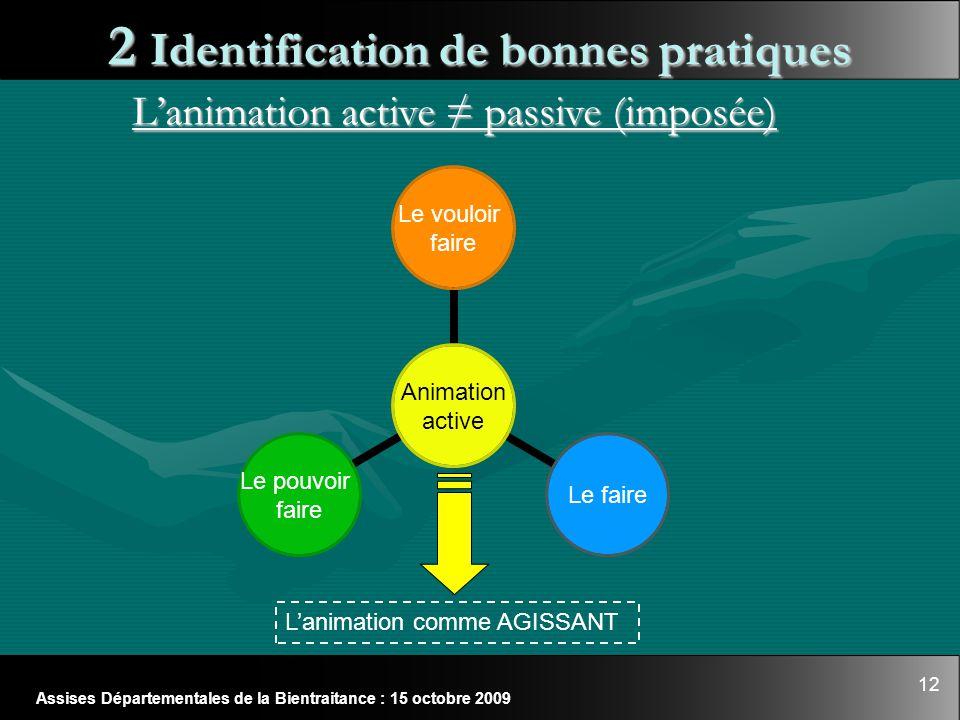 12 Assises Départementales de la Bientraitance : 15 octobre 2009 2 Identification de bonnes pratiques L'animation active ≠ passive (imposée) Animation