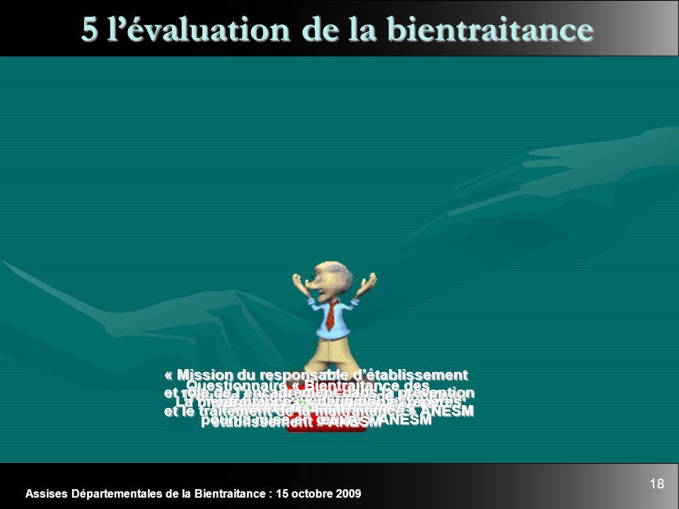 18 Assises Départementales de la Bientraitance : 15 octobre 2009 5 l'évaluation de la bientraitance Questionnaire « Bientraitance des personnes âgées
