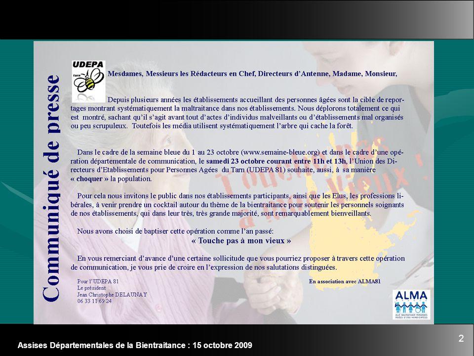 2 Assises Départementales de la Bientraitance : 15 octobre 2009