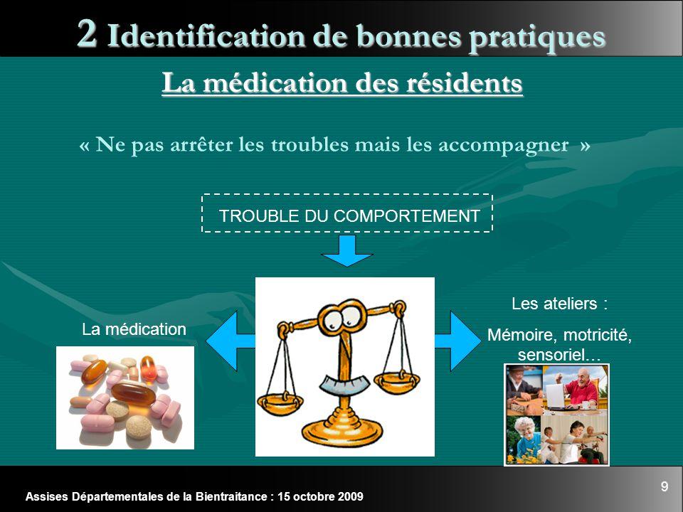 9 Assises Départementales de la Bientraitance : 15 octobre 2009 2 Identification de bonnes pratiques La médication des résidents « Ne pas arrêter les