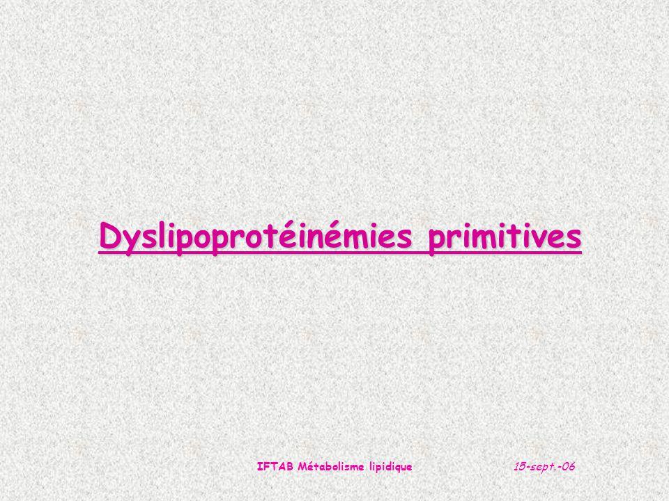 15-sept.-06IFTAB Métabolisme lipidique Dyslipoprotéinémies primitives