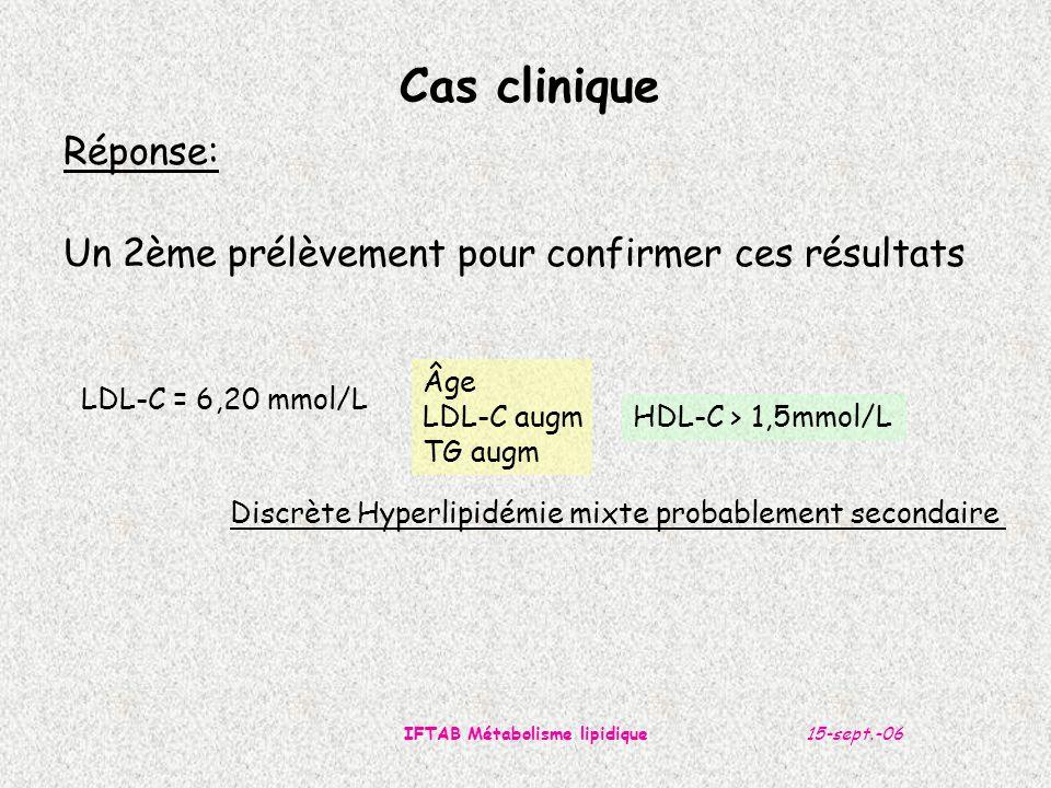 15-sept.-06IFTAB Métabolisme lipidique Cas clinique Réponse: Un 2ème prélèvement pour confirmer ces résultats LDL-C = 6,20 mmol/L Âge LDL-C augm TG augm HDL-C > 1,5mmol/L Discrète Hyperlipidémie mixte probablement secondaire