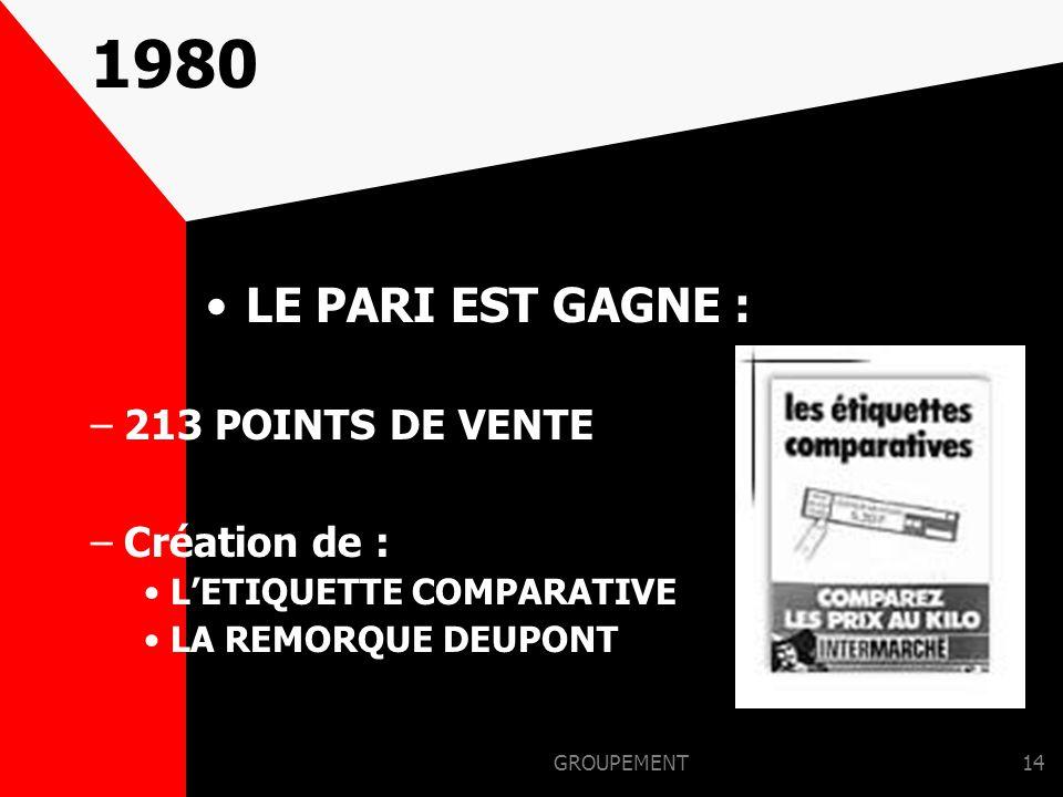 GROUPEMENT13 1979 UN HOMME UN METIER Création de : –BRICOMARCHE –CEFIMEV –MARCHE DES MOUSQUETAIRES