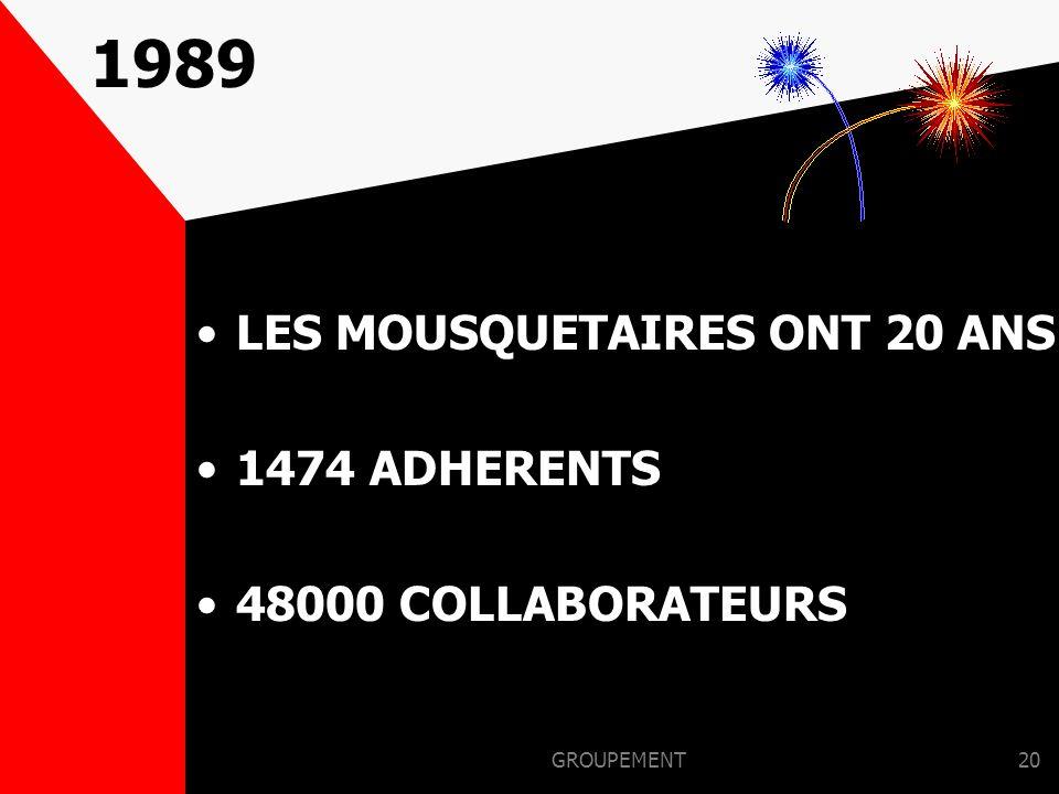 GROUPEMENT19 1988 Ouverture : –RELAIS DES MOUSQUETAIRES 1er INTERMERCA en Espagne Création de la radio Fréquence Mousquetaire