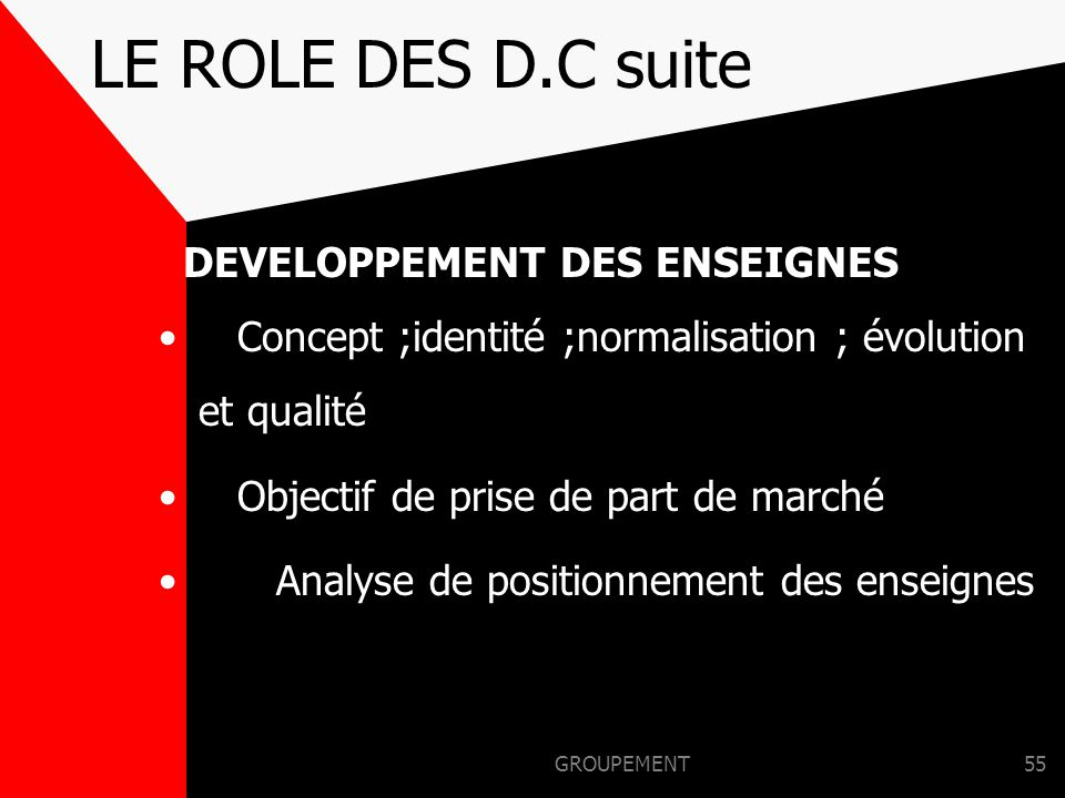 GROUPEMENT54 LE ROLE DES D.C Singul = application du concept D.Q.S.E* = application des méthodes R.M.S = application mix vente Gammes & publi promo ré