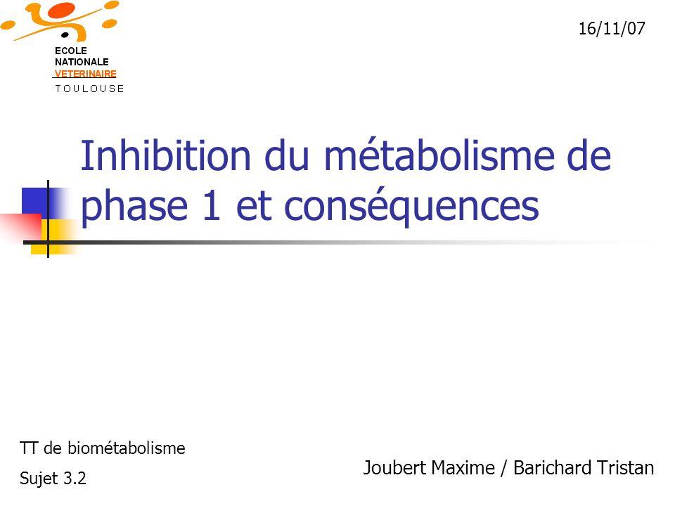 Inhibition du métabolisme de phase 1 et conséquences Joubert Maxime / Barichard Tristan TT de biométabolisme Sujet 3.2 16/11/07