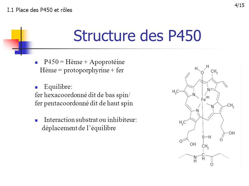 Structure des P450 P450 = Hème + Apoprotéine Hème = protoporphyrine + fer Equilibre: fer hexacoordonné dit de bas spin/ fer pentacoordonné dit de haut