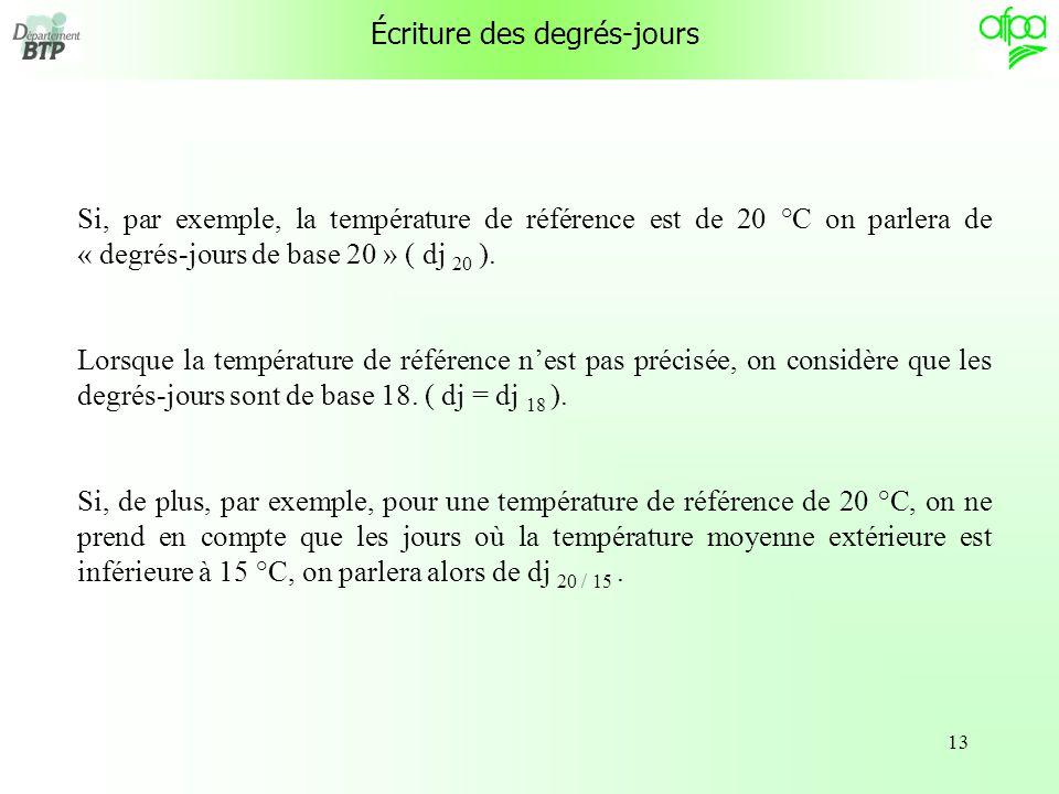 13 Écriture des degrés-jours Si, par exemple, la température de référence est de 20 °C on parlera de « degrés-jours de base 20 » ( dj 20 ).