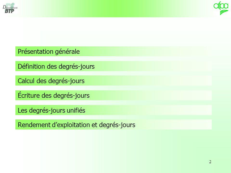 2 Présentation générale Définition des degrés-jours Calcul des degrés-jours Écriture des degrés-jours Les degrés-jours unifiés Rendement d'exploitation et degrés-jours