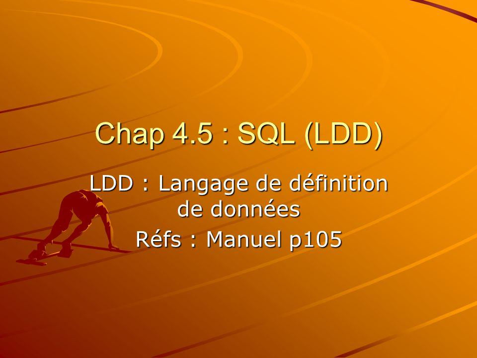 Chap 4.5 : SQL (LDD) LDD : Langage de définition de données Réfs : Manuel p105