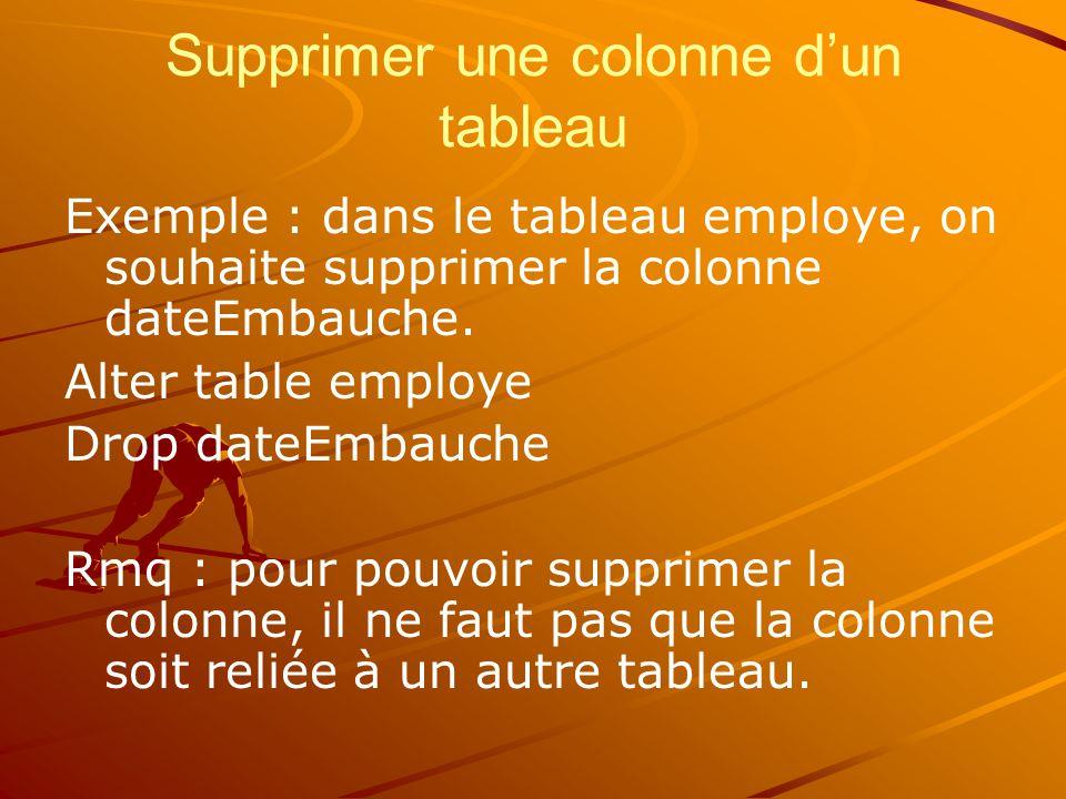 Supprimer une colonne d'un tableau Exemple : dans le tableau employe, on souhaite supprimer la colonne dateEmbauche.