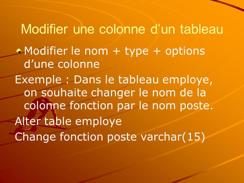 Modifier une colonne d'un tableau Modifier le nom + type + options d'une colonne Exemple : Dans le tableau employe, on souhaite changer le nom de la colonne fonction par le nom poste.