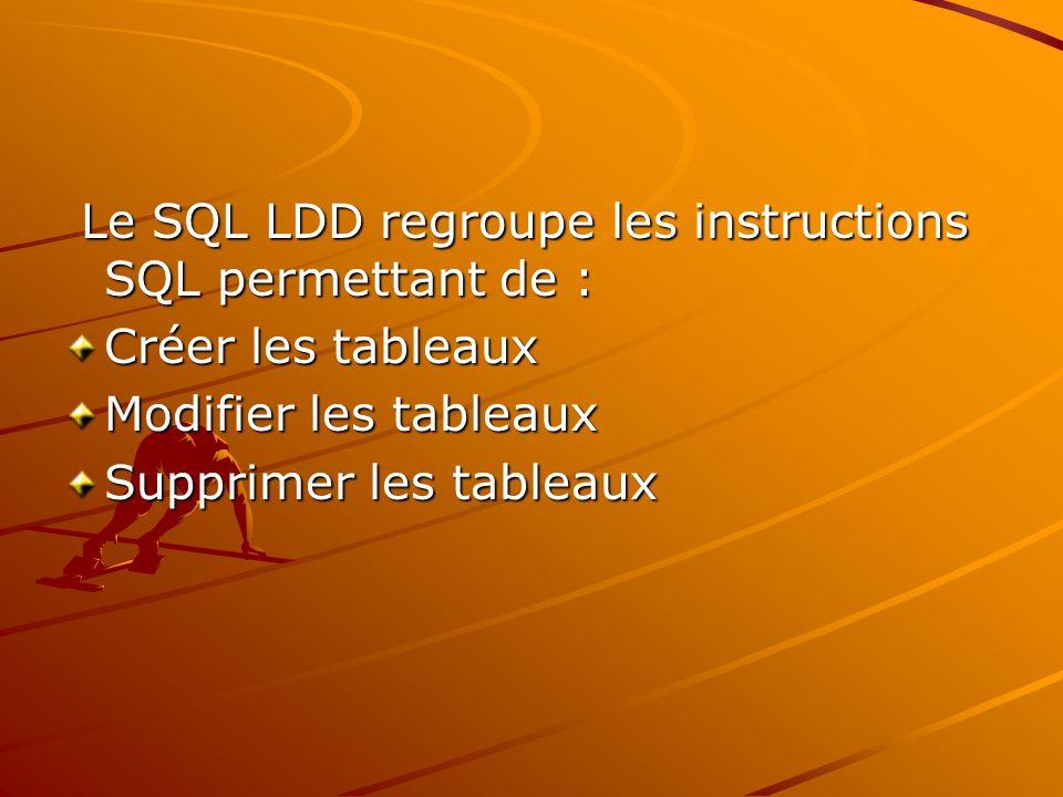 Le SQL LDD regroupe les instructions SQL permettant de : Le SQL LDD regroupe les instructions SQL permettant de : Créer les tableaux Modifier les tableaux Supprimer les tableaux