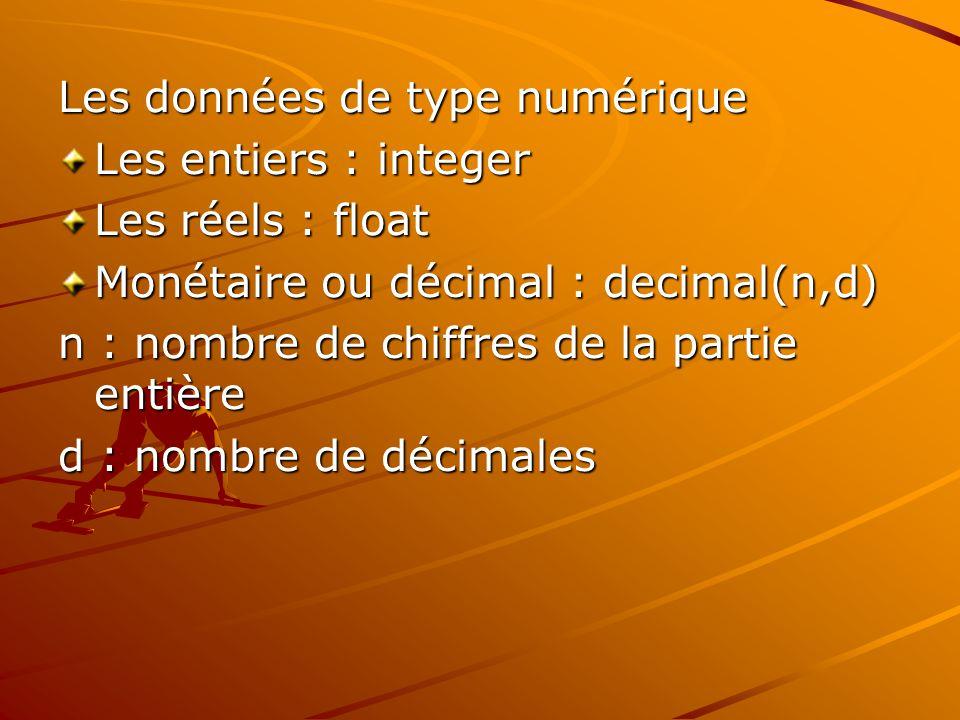 Les données de type numérique Les entiers : integer Les réels : float Monétaire ou décimal : decimal(n,d) n : nombre de chiffres de la partie entière d : nombre de décimales