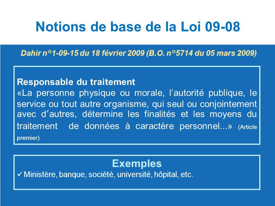 Notions de base de la Loi 09-08 Dahir n°1-09-15 du 18 février 2009 (B.O. n°5714 du 05 mars 2009) Responsable du traitement «La personne physique ou mo