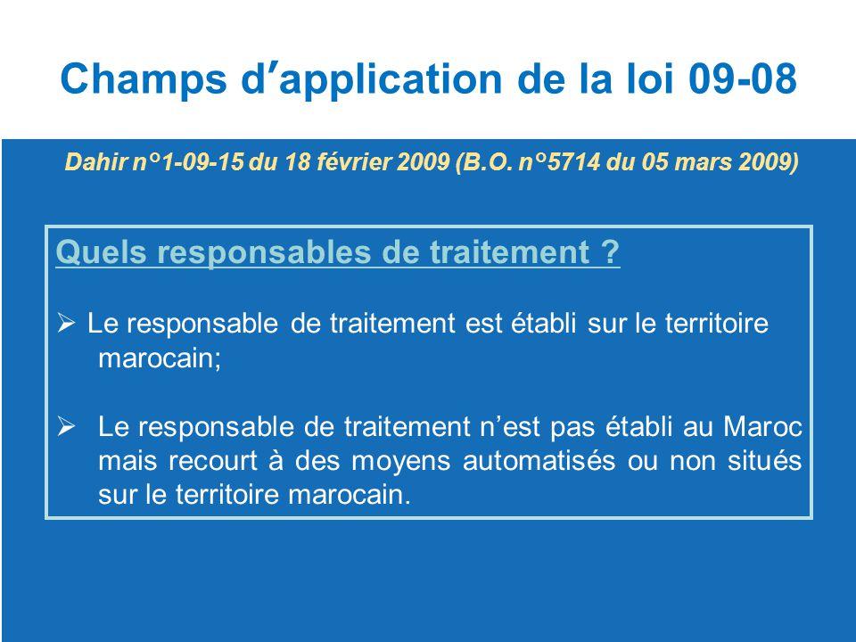 Champs d'application de la loi 09-08 Quels responsables de traitement ?  Le responsable de traitement est établi sur le territoire Le responsable de