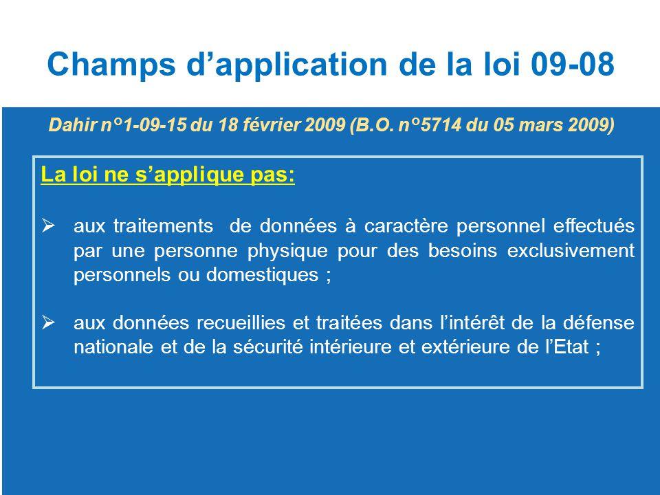 Champs d'application de la loi 09-08 La loi ne s'applique pas:  aux traitements de données à caractère personnel effectués par une personne physique