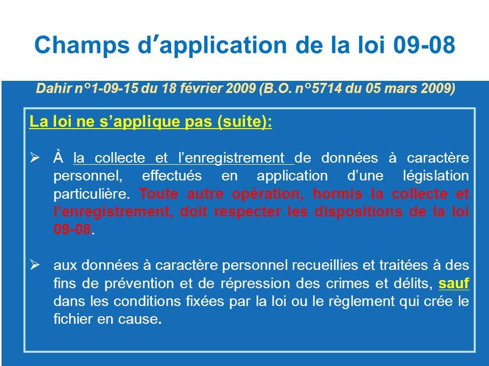 Champs d'application de la loi 09-08 La loi ne s'applique pas (suite):  À la collecte et l'enregistrement de données à caractère personnel, effectués