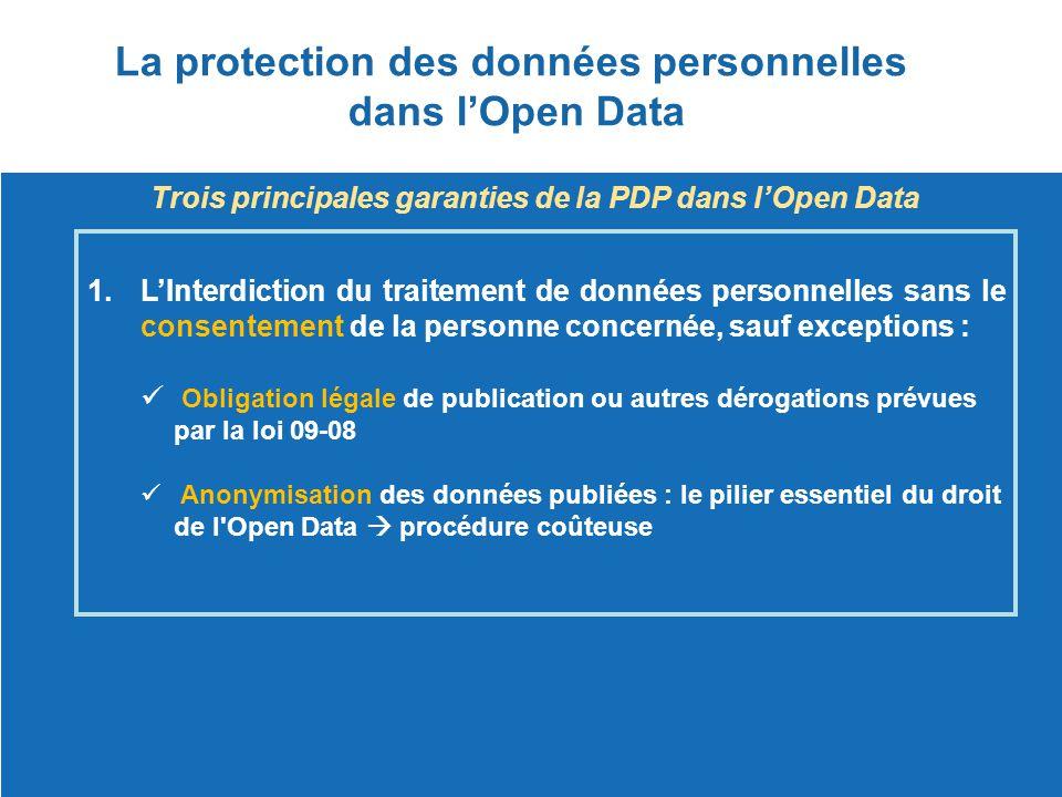 La protection des données personnelles dans l'Open Data Trois principales garanties de la PDP dans l'Open Data 1.L'Interdiction du traitement de donné