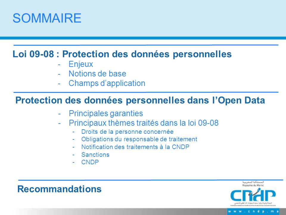 SOMMAIRE Loi 09-08 : Protection des données personnelles -Principales garanties -Principaux thèmes traités dans la loi 09-08 -Droits de la personne co