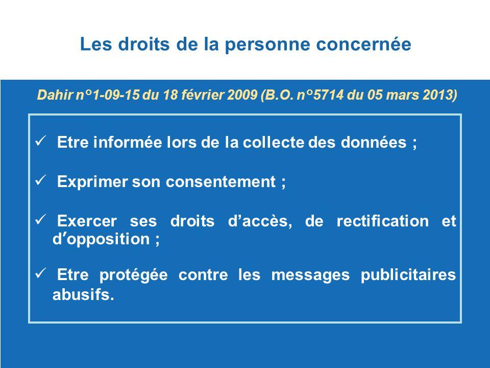 Les droits de la personne concernée Dahir n°1-09-15 du 18 février 2009 (B.O. n°5714 du 05 mars 2013) Etre informée lors de la collecte des données ; E