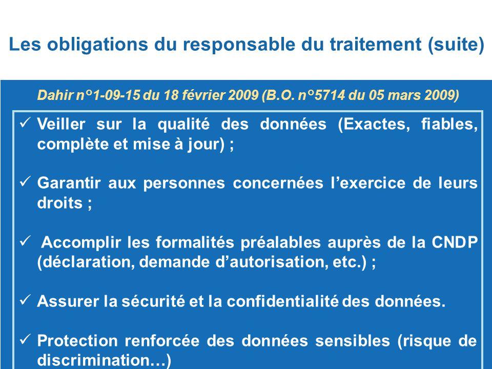 Les obligations du responsable du traitement (suite) Dahir n°1-09-15 du 18 février 2009 (B.O. n°5714 du 05 mars 2009) Veiller sur la qualité des donné