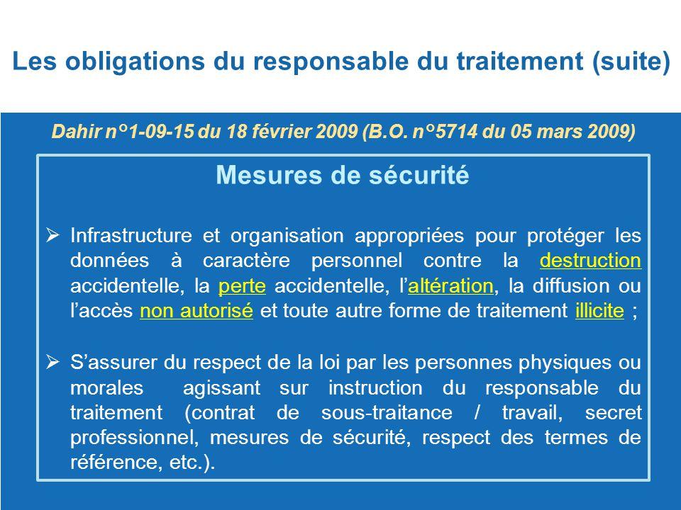Dahir n°1-09-15 du 18 février 2009 (B.O. n°5714 du 05 mars 2009) Mesures de sécurité  Infrastructure et organisation appropriées pour protéger les do