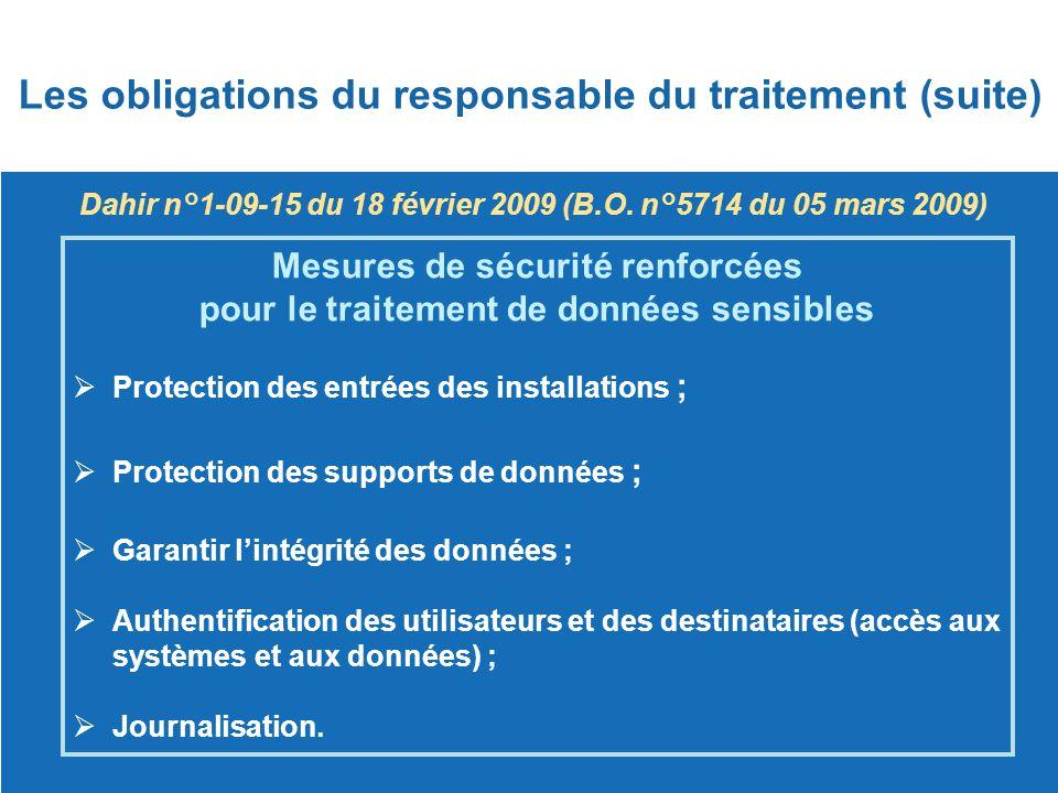 Dahir n°1-09-15 du 18 février 2009 (B.O. n°5714 du 05 mars 2009) Mesures de sécurité renforcées pour le traitement de données sensibles  Protection d