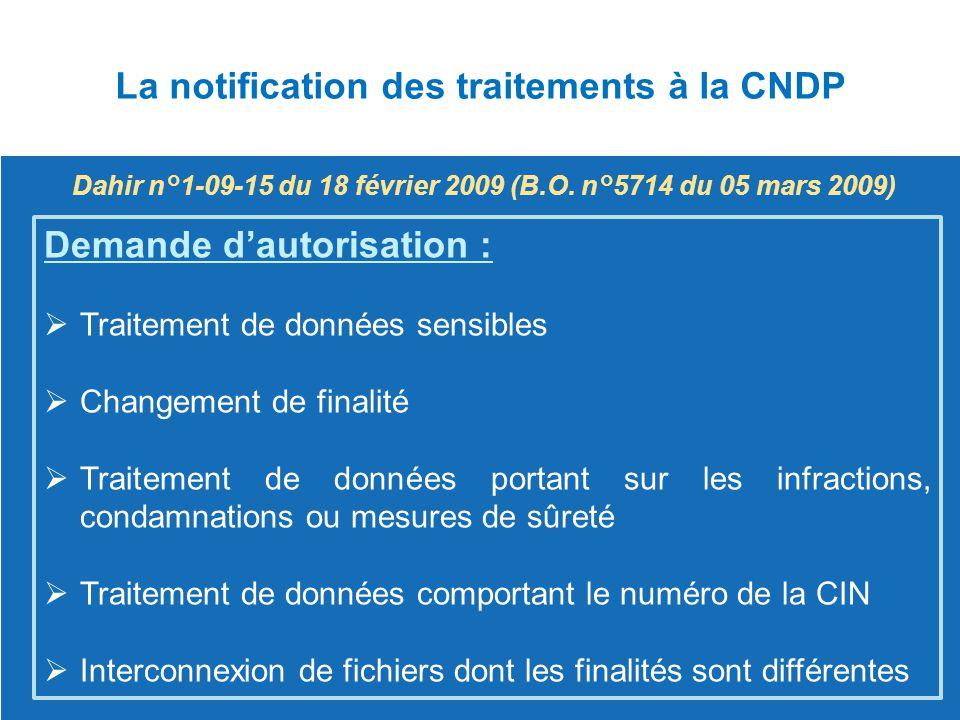 La notification des traitements à la CNDP Demande d'autorisation :  Traitement de données sensibles Traitement de données sensibles  Changement de f