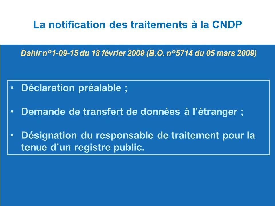 Déclaration préalable ; Demande de transfert de données à l'étranger ; Désignation du responsable de traitement pour la tenue d'un registre public.Dés