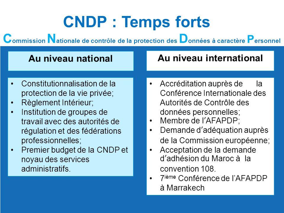 CNDP : Temps forts C ommission N ationale de contrôle de la protection des D onnées à caractère P ersonnel Au niveau national Constitutionnalisation d