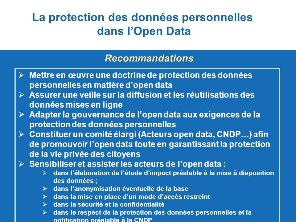  Mettre en œuvre une doctrine de protection des données personnelles en matière d'open data Mettre en œuvre une doctrine de protection des données pe