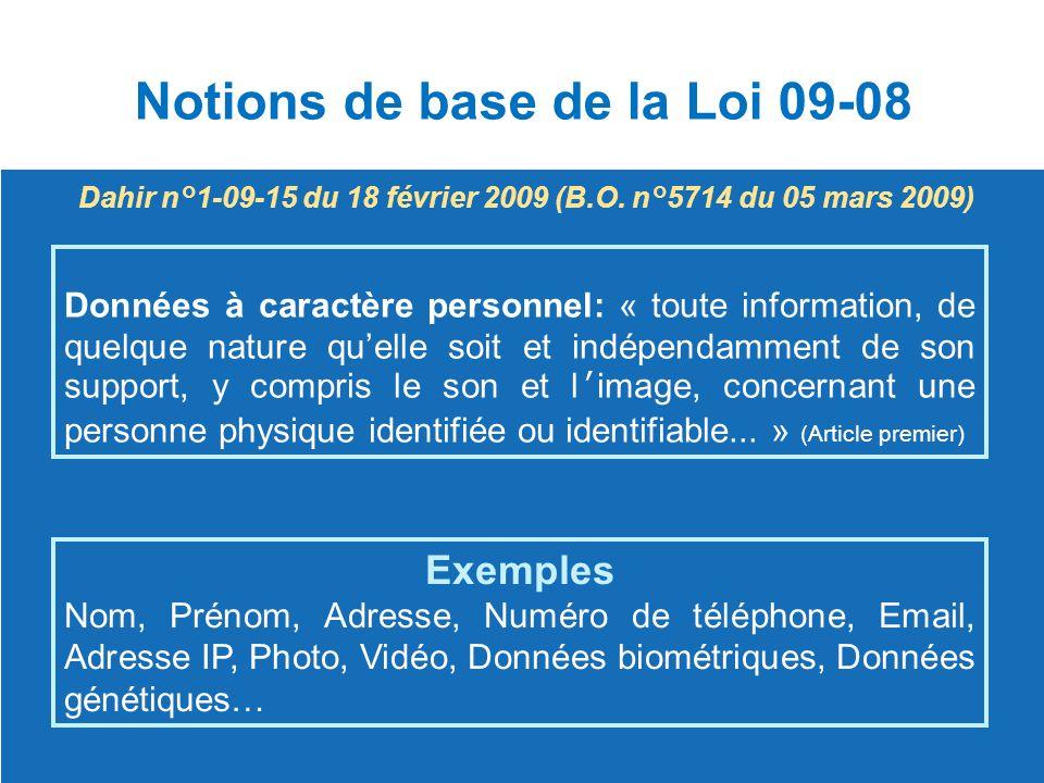 Dahir n°1-09-15 du 18 février 2009 (B.O. n°5714 du 05 mars 2009) Données à caractère personnel: « toute information, de quelque nature qu'elle soit et