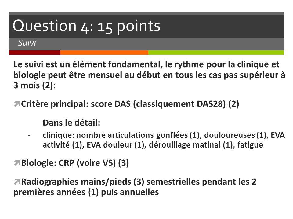 Question 4: 15 points Le suivi est un élément fondamental, le rythme pour la clinique et biologie peut être mensuel au début en tous les cas pas supér