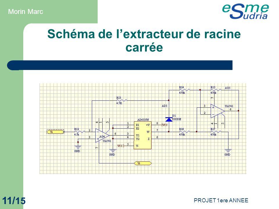 PROJET 1ere ANNEE 11/ 15 Schéma de l'extracteur de racine carrée Morin Marc