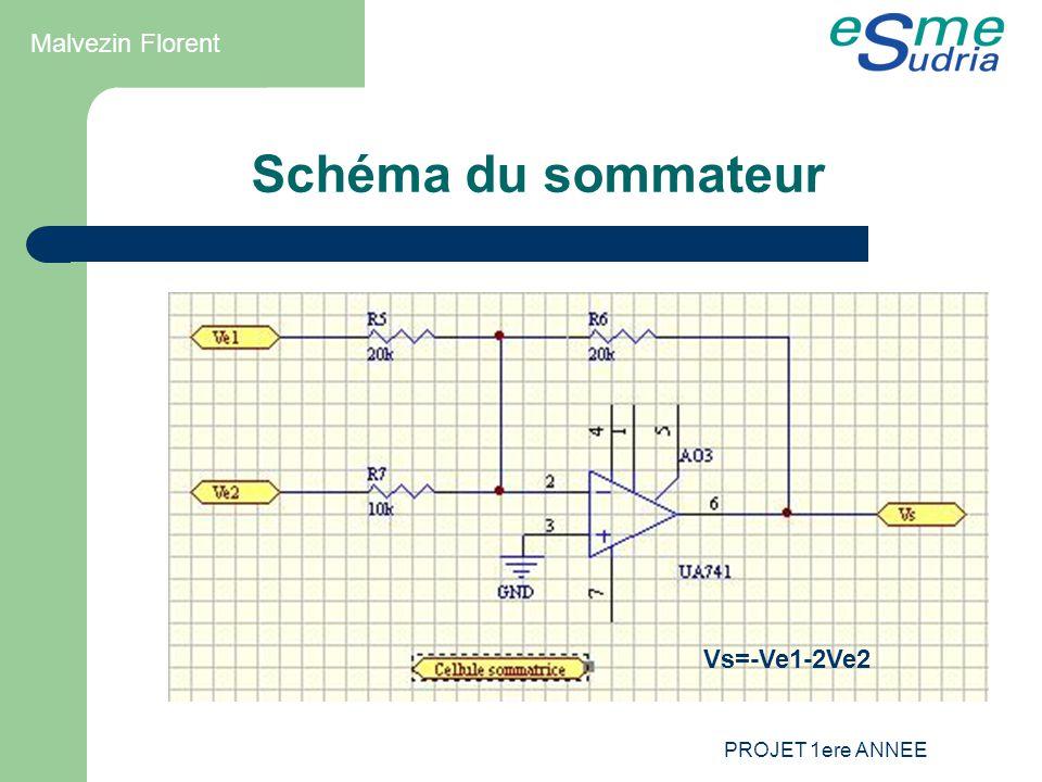 PROJET 1ere ANNEE Schéma du sommateur Vs=-Ve1-2Ve2 Malvezin Florent