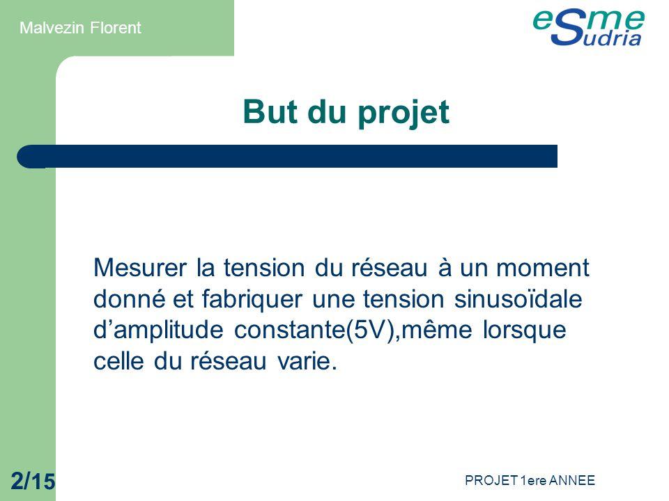 PROJET 1ere ANNEE 2/ 15 But du projet Mesurer la tension du réseau à un moment donné et fabriquer une tension sinusoïdale d'amplitude constante(5V),mê