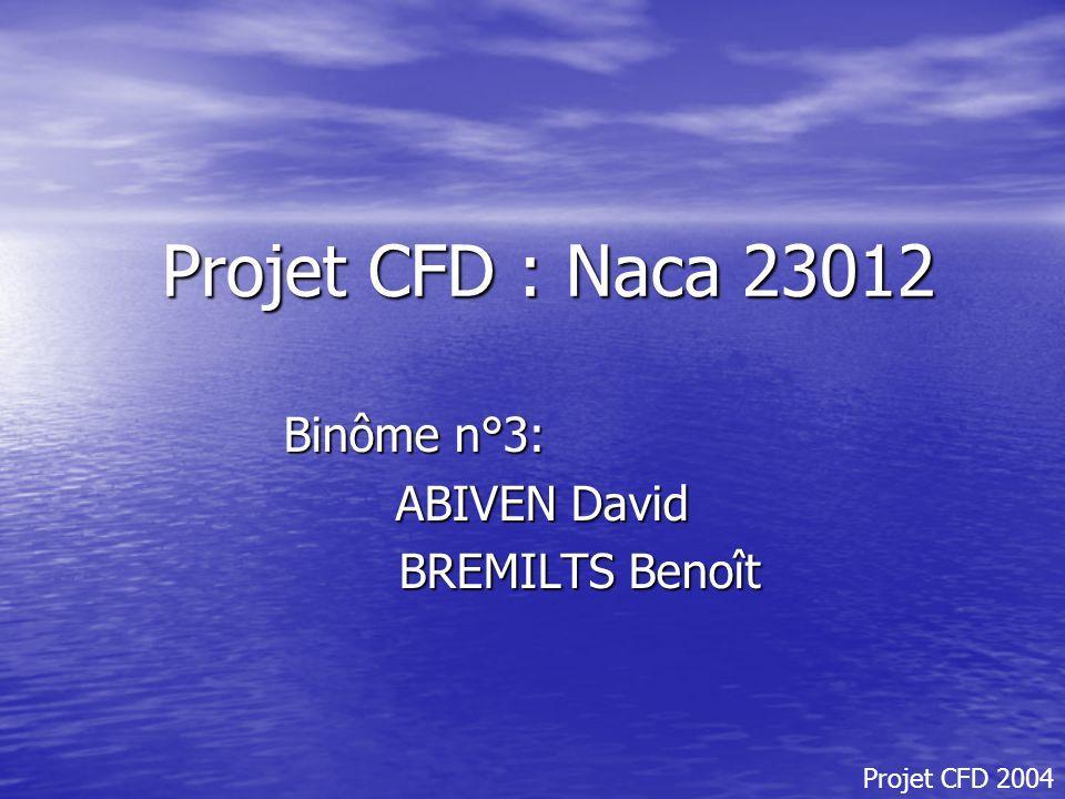 Projet CFD : Naca 23012 Binôme n°3: ABIVEN David BREMILTS Benoît BREMILTS Benoît Projet CFD 2004