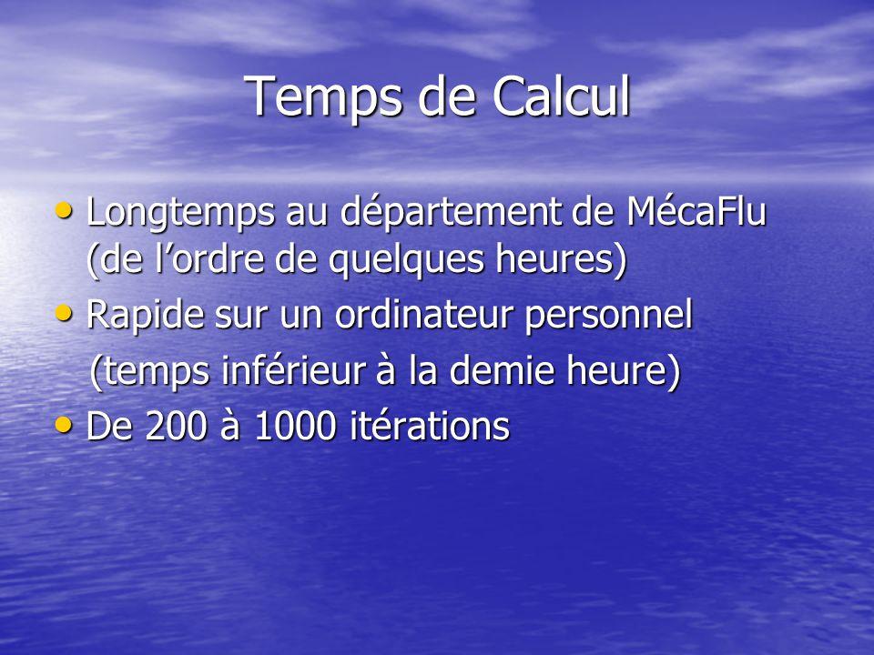 Temps de Calcul Longtemps au département de MécaFlu (de l'ordre de quelques heures) Longtemps au département de MécaFlu (de l'ordre de quelques heures) Rapide sur un ordinateur personnel Rapide sur un ordinateur personnel (temps inférieur à la demie heure) (temps inférieur à la demie heure) De 200 à 1000 itérations De 200 à 1000 itérations