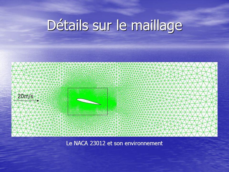 Détails sur le maillage Le NACA 23012 et son environnement 20m/s