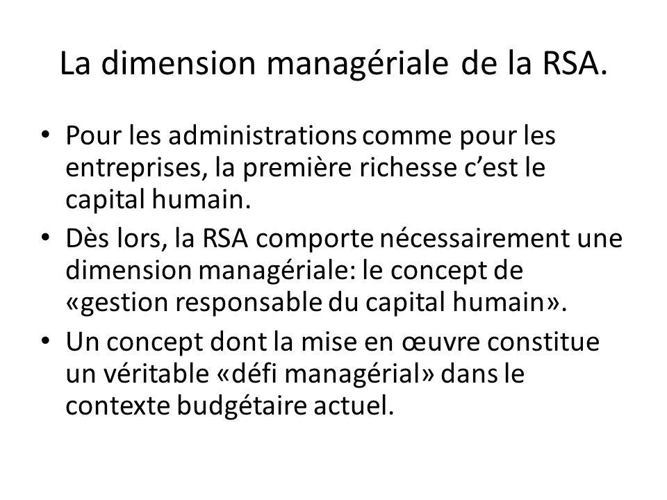 La dimension managériale de la RSA. Pour les administrations comme pour les entreprises, la première richesse c'est le capital humain. Dès lors, la RS