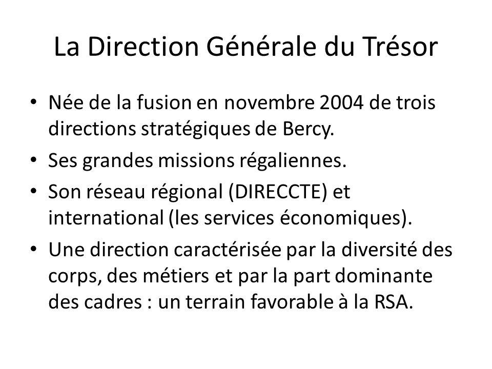 La Direction Générale du Trésor Née de la fusion en novembre 2004 de trois directions stratégiques de Bercy. Ses grandes missions régaliennes. Son rés