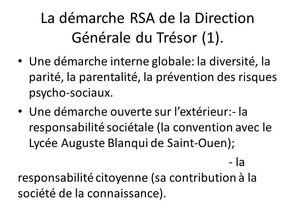 La démarche RSA de la Direction Générale du Trésor (1). Une démarche interne globale: la diversité, la parité, la parentalité, la prévention des risqu