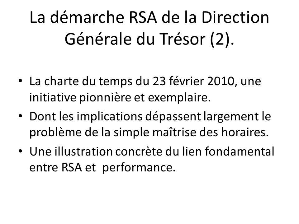 La démarche RSA de la Direction Générale du Trésor (2). La charte du temps du 23 février 2010, une initiative pionnière et exemplaire. Dont les implic